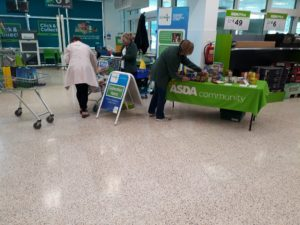 Dundee Foodbank volunteers receiving another very generous donation from an Asda Kirkton customer.